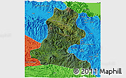 Satellite 3D Map of Chimbu, political outside