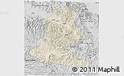 Shaded Relief 3D Map of Chimbu, desaturated