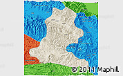 Shaded Relief 3D Map of Chimbu, political outside