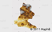 Physical Map of Chimbu, cropped outside