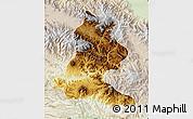 Physical Map of Chimbu, lighten