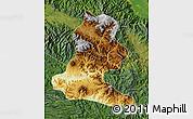 Physical Map of Chimbu, satellite outside