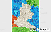 Shaded Relief Map of Chimbu, political outside