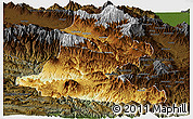 Physical Panoramic Map of Chimbu, darken