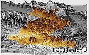 Physical Panoramic Map of Chimbu, desaturated
