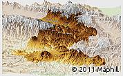 Physical Panoramic Map of Chimbu, lighten