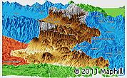 Physical Panoramic Map of Chimbu, political outside