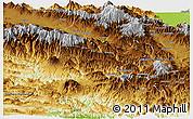 Physical Panoramic Map of Chimbu