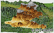 Physical Panoramic Map of Chimbu, satellite outside