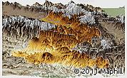Physical Panoramic Map of Chimbu, semi-desaturated