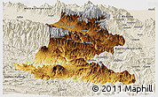 Physical Panoramic Map of Chimbu, shaded relief outside