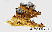 Physical Panoramic Map of Chimbu, single color outside