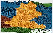 Political Panoramic Map of Chimbu, darken