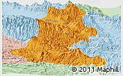 Political Panoramic Map of Chimbu, lighten