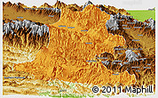 Political Panoramic Map of Chimbu, physical outside
