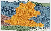 Political Panoramic Map of Chimbu, semi-desaturated