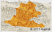 Political Panoramic Map of Chimbu, shaded relief outside