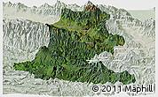 Satellite Panoramic Map of Chimbu, lighten