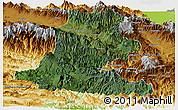 Satellite Panoramic Map of Chimbu, physical outside