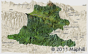 Satellite Panoramic Map of Chimbu, shaded relief outside