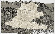 Shaded Relief Panoramic Map of Chimbu, darken