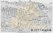 Shaded Relief Panoramic Map of Chimbu, desaturated