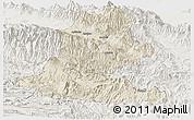 Shaded Relief Panoramic Map of Chimbu, lighten