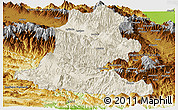 Shaded Relief Panoramic Map of Chimbu, physical outside