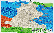 Shaded Relief Panoramic Map of Chimbu, political outside