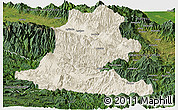 Shaded Relief Panoramic Map of Chimbu, satellite outside