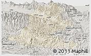 Shaded Relief Panoramic Map of Chimbu, semi-desaturated