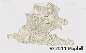 Shaded Relief Panoramic Map of Chimbu, single color outside