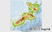 Physical 3D Map of East New Britain, lighten