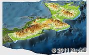 Physical Panoramic Map of East New Britain, darken