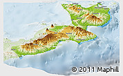 Physical Panoramic Map of East New Britain, lighten