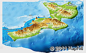 Physical Panoramic Map of East New Britain, political outside