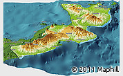 Physical Panoramic Map of East New Britain, satellite outside