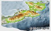 Physical Panoramic Map of East New Britain, semi-desaturated