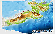 Physical Panoramic Map of East New Britain, shaded relief outside