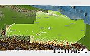 Physical 3D Map of East Sepik, darken