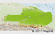 Physical 3D Map of East Sepik, lighten