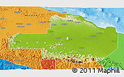 Physical 3D Map of East Sepik, political outside