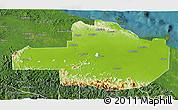 Physical 3D Map of East Sepik, satellite outside