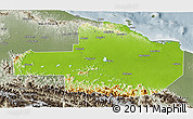 Physical 3D Map of East Sepik, semi-desaturated