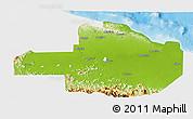 Physical 3D Map of East Sepik, single color outside
