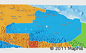 Political 3D Map of East Sepik
