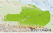 Physical Map of East Sepik, lighten