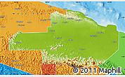 Physical Map of East Sepik, political outside