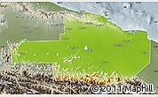 Physical Map of East Sepik, semi-desaturated