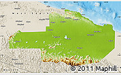 Physical Map of East Sepik, shaded relief outside